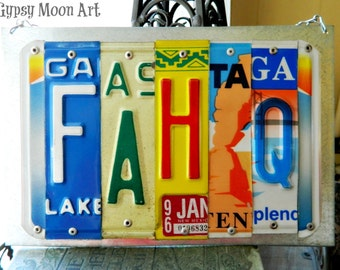 License Plate Sign.  Funny Naughty License Plate Art Recycled Art Metal Sign Eco Friendly Gift Pub Sign
