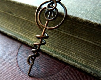 Artisan Copper Brooch.  Copper Wire Wrapped Shawl Pin.  Fall Fashion Pin.