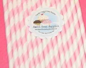 Pastel Pink Stripe Paper Straws - DIY Flag Toppers   (25)