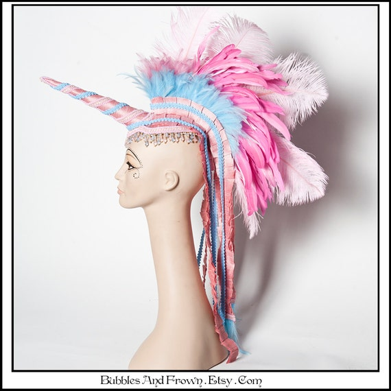 Cute as Sky.. Unicorn Headdress with Feather Mohawk