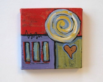 SALE, Red abstract Acrylic Heart Painting, Original on canvas, mini canvas with easel, Gift idea