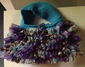 Hand Knit Ruffled Teal Purse