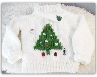 Christmas Tree Boy or Girl Pullover Knitted  Pattern Child Sizes Ages 3-8