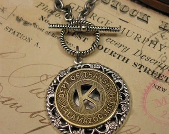 Token Jewelry - Genuine Kalamazoo Michigan Transit Token Medallion Necklace - Initial K - Industrial Chic