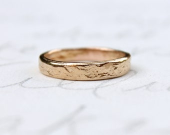 rose gold wedding band . recycled 14k rose gold river rock wedding ring . solid gold mens womens band ring . rustic wedding ring for him her