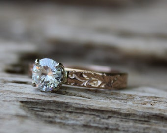 moissanite engagement ring . unique diamond alternative solitaire engagement ring . recycled 14k rose gold vine ring . made to order