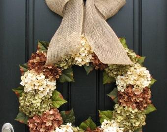 CHRISTMAS SALE XL Fall Wreaths, Hydrangea Wreaths for Fall, Burlap Ribbon Bows, Fall Wreaths, Autumn Decor, Wreaths, Front Door Wreaths for