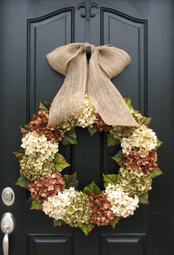 Items Similar To Xl Fall Wreaths Hydrangea Wreaths For