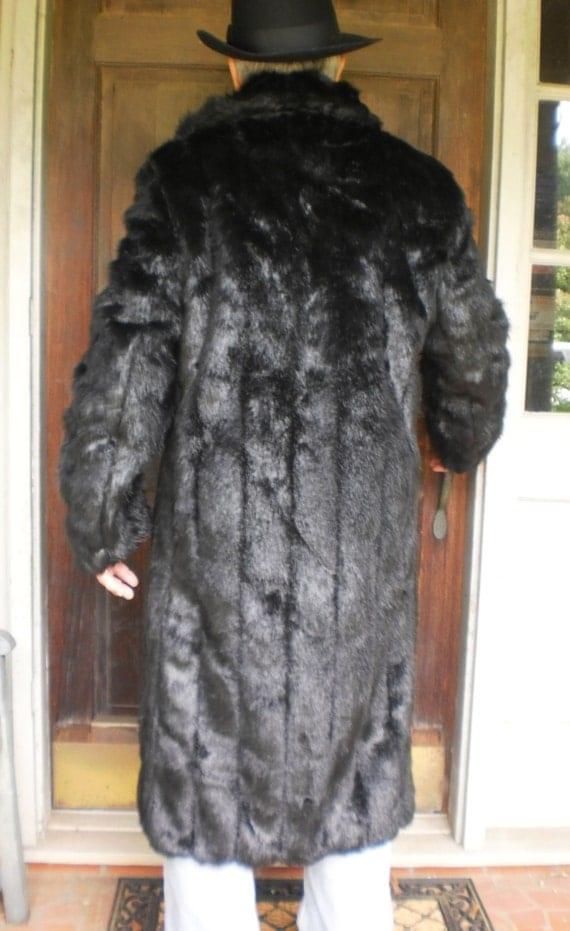 New Mens Faux Rabbit Fur Hooded Coat Jacket Winter Warm