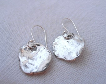 Rustic Sterling Silver Disc Earrings