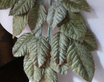 Velvet Leaves in Woodsy Green for Bridal, Boutonnieres, Millinery, Costumes ML 34