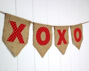 Shabby Valentine's Day Banner Bunting - XOXO - red polka-dots  by sweetcarolinehome on Etsy - tt team, avidteam