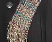 Handwoven Women's Scarf. Recycled Sari Silk & Chenille.