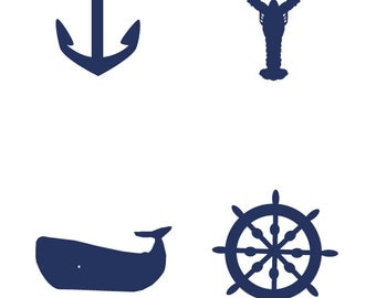 ON SALE - Nautical Images - Anchor, Lobster, Whale, Ship Wheel - Digital File Only