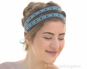 Double Ribbon Tie Headband In Blue, Bohemian Hippie Tie Headband, Boho Double Headband Hair Accessories for Women and Teens