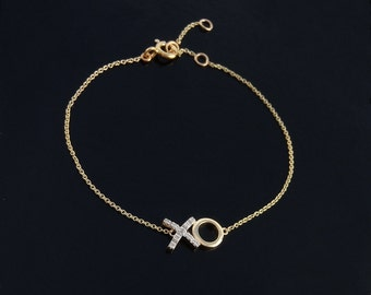 Hugs ans Kisses Diamond Bracelet in 14kt Gold