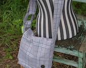Chrissy's Messenger  Bag -  Grey Plaid Wool