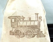 Choo Choo Train Party Favor bags set of 10 - 4x6 muslin bags - goodie bags, thank you, boys birthday
