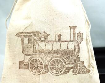 Choo Choo Train Party Favor bags set of 10 - 4x6 muslin bags - goodie bags, thank you, boys birthday