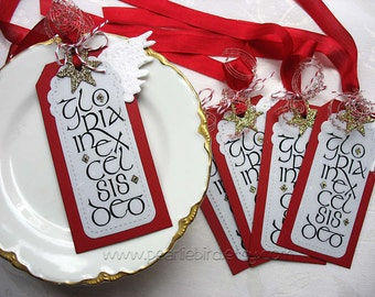 Gloria In Excelsis Deo LUXE Christmas Holiday Gift Tags, Red, White, Angel Wing, Gold Star