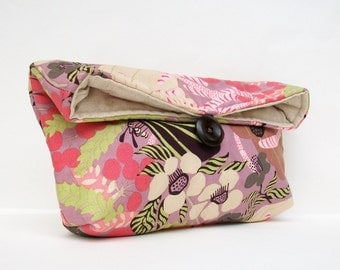 Purple Clutch Purse, Purple Makeup Bag, Purple Bridesmaid Gift, Wedding Accessory, Gray Brown Cream Green, Floral Clutch,