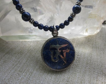 Lapis OM on Lapis Beads with Sterling Silver