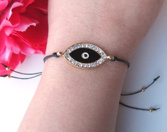 evil eye charm with crystal rhinestones on black waxed linen cord - arm candy - friendship bracelet - evil eye jewelry - bohemian accessory