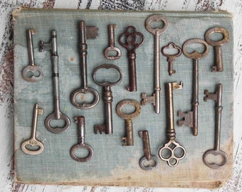Vintage Key Collection, Skeleton Key Photograph, Antique Keys, Rustic Wall Art, Old Keys, Farmhouse Antique, Rustic Key Photo, clef ancienne