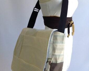 Messenger bag, cream patch work