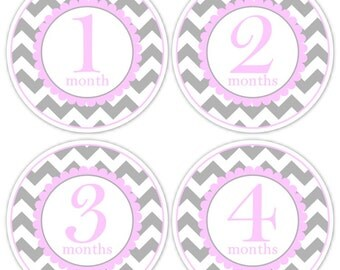 Baby Month to Month Stickers, Monthly Birthday Stickers for Baby, Chevron Photo Prop Birthday Stickers, Chevron and Pink