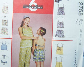 McCall's 2758 Girl's Sewing Pattern, SALE, Summer Tops, Elastic Waist Capri Pants and Shorts, Easy to Sew Girl's Pattern Size 12 - 16 UNCUT