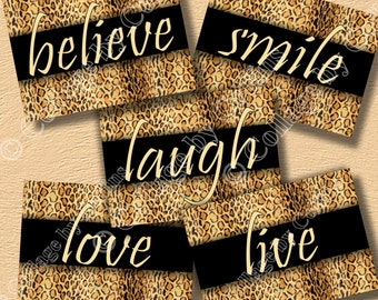 Cheetah Leopard Print Inspirational Wall Art Decor Girls Room Believe Live Love Smile Laugh Motivational UNFRAMED Bedroom Kitchen Bathroom