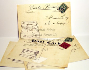 Instant DOWNLOAD Vintage Style Post Cards. Luggage and Books