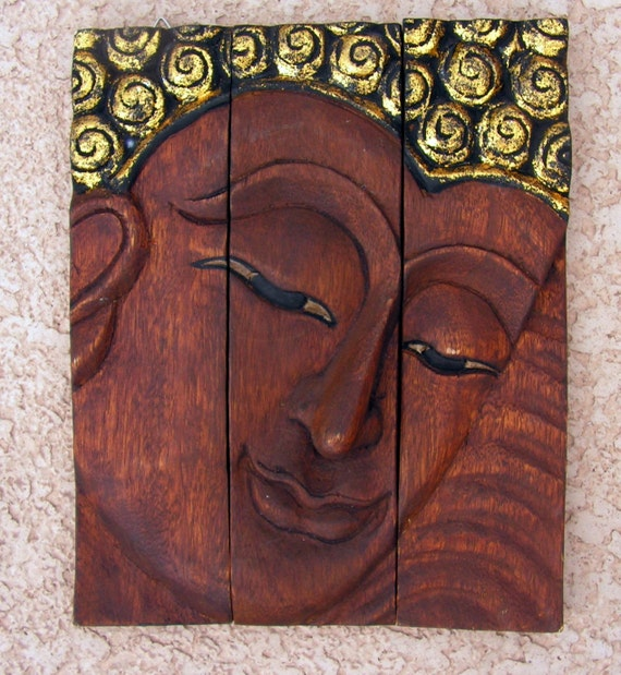 Vintage buddha wood carving hand carved panels wall art
