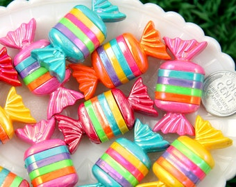 Candy Cabochons - 39mm Striped Chunky Candy Shape Resin Flatback Cabochons - 6 pc set