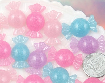 Candy Resin Cabochons - 25mm Pastel Shimmer Candy Resin Flatback Cabochons - Light Pink, Pink, Purple and Blue - 8 pc set