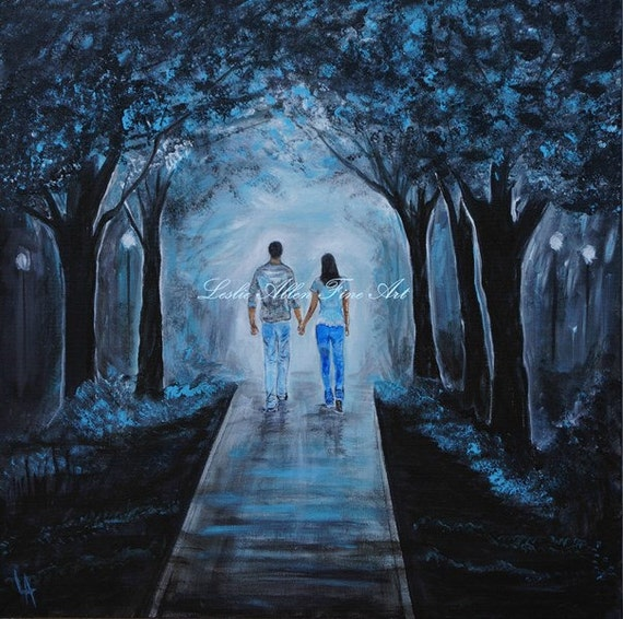SALE Couple Original Acrylic Painting COUPLE By