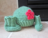 Lovely Handmade Crochet Set For Baby Newborn Infant Hat With Lovely Pink Flower And Booties Beautiful   Sage Color