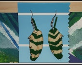 hand painted folk art wooden earrings feathers with Chevron stripes