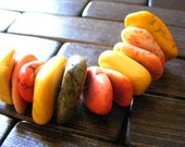 Howlite Nugget Slices Small Lot Orange Yellow Peach Brown Speckled Destash