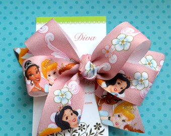 Princesses on Pink Classic Diva Bow