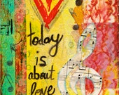 """Today is About Love and Music 5""""x7"""" Blank Greeting Card with Envelope, All Occasion Card, Birthday Card, Wholesale Cards, Stationery"""