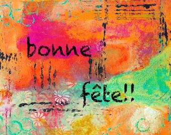 "Bonne Fête 5""x7"" Blank Birthday Card with Envelope, French Birthday Card, Stationery, Birthday Card, Wholesale Birthday Cards"