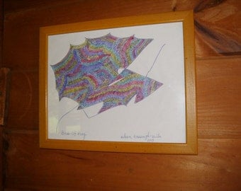 Free Form Contemporary Abstract Art Using Pen & Color Pencils Entitled BIRD OF PREY Drawn To Music