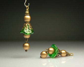 Bead Dangles Vintage Style Green and Gold Glass Flowers Pair G434