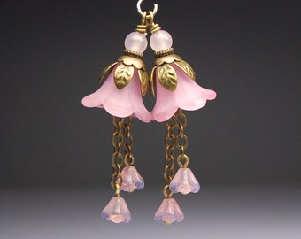 Vintage Style Bead Dangles Pink Lucite Flowers Pair PK601