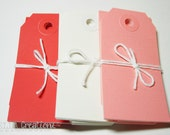 30 Small Valentine Gift Tags Parcel Tags - Red, White & Pin Valentines Tags
