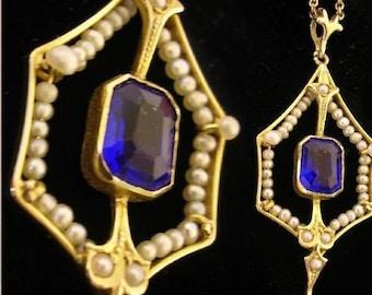 ANtique Edwardian gold pearl lavalier necklace