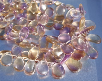 Oh So Beautiful... Pastel Ametrine Smooth Pear Briolette Drop beads mix size 9.5-13mm