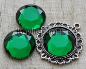 Mirror Glass Cabochon cab 20mm Round Faceted Table Cut -Emerald - 2pcs